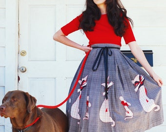 RESERVED Do Not Purchase 1950s novety cat and mouse border print skirt