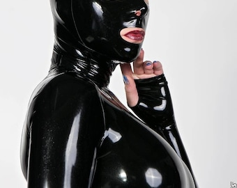 CL design LaTeX ladies of mask with zipper roleplay fetish rubber