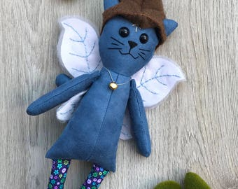 Cat kitten elf plush / fabric doll handmade, rag doll, heirloom doll