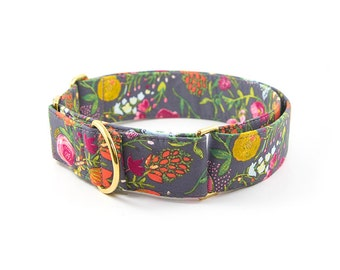 Floral Martingale Collar // Size M-XL // Adjustable Length // Fabric: Vibrant Flower Bouquet on Pewter
