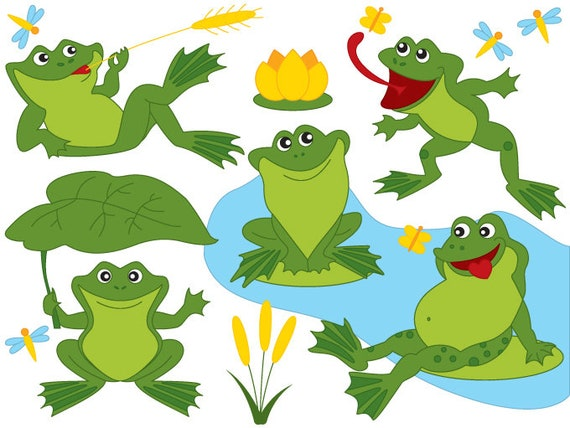 frog clipart digital vector frog green frogs pond lily rh etsy com frogs clip art free frog clip art images