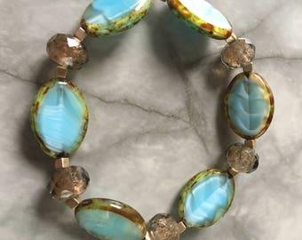 Light blue Czech glass beaded bracelet