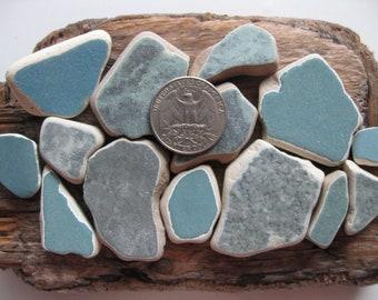 Authentic Beach Pottery 14 Pcs | Genuine Sea Pottery | Teal Blue Beach Pottery | Teal Ceramic Tile | Teal Blue Mosaic Tile | Surf Tumbled