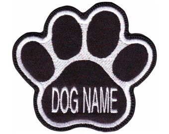 Custom Dog Name Paw (Black) Embroidered  Patch