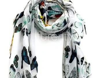 Multi Butterfly White Scarf / Spring Summer Scarf / Autumn Scarf / Gifts For Her / Women Scarves / Handmade Accessories