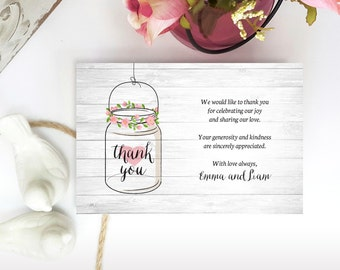 Printed Thank you notes | Mason jar Thank you cards for wedding, bridal shower, engagement | Cheap thank you notes for woodsy rustic wedding