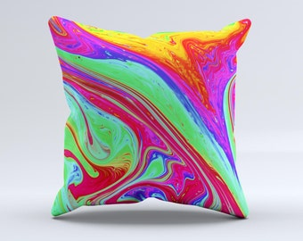 The Neon Color Fusion V8 ink-Fuzed Decorative Throw Pillow