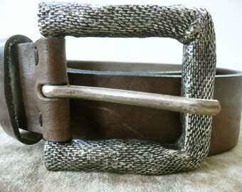 Unusual Vintage Lloyd Leather Belt With Silver Toned Snake Skin Buckle