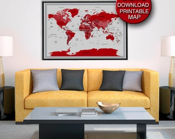 Red world map etsy quick view 32x48 detailed printable world map download in red gumiabroncs Choice Image