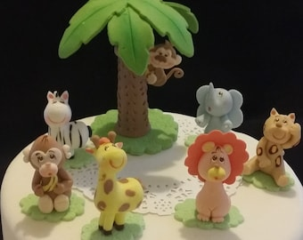 Jungle Baby Shower Decorations, Safari Baby Shower, Jungle Baby Animal Cake Toppers, Monkey Baby Shower, Safari Birthday Cake, Safari Animal