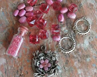 Potpourri Bead lot, Pink destash lot, vintage and new beads, Girly, earrings, Pendants, silver, flower