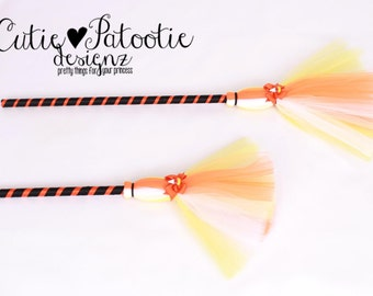 READY TO SHIP:  Simply Sweet Broomstick - Orange Yellow White - Halloween Candy Corn Witch Costume Accessory - Bitty Toddler Child Size