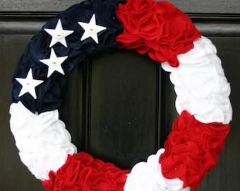 Patriotic red, white, and blue felt wreath