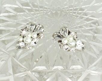 Bridal Cluster Earrings- Art Deco Earrings- Pearl Bridal Studs- Rhinestone Wedding Earrings- Vintage Inspired Studs- Handmade Earrings