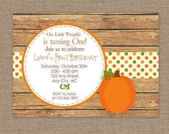 Little Pumpkin Invitation | Little Pumpkin Birthday Party | Little Pumpkin Party | Fall Birthday Invitation