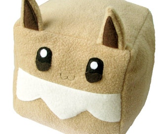 JULY PREORDER Pokemon Eevee cube plushie stuffed animal toy cute decor nintendo geeky nerdy video game square anime character doll