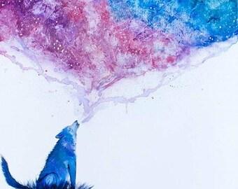 Watercolor Galaxy Wolf Print