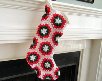 Crocheted Granny-Square Christmas Stocking--Cream and White