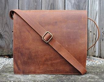 Full Grain Leather Messenger Bag 13″ - Distressed Leather Bag - Leather Laptop Bag - Leather Crossbody Bag, Men Messenger Bag, Office Bag