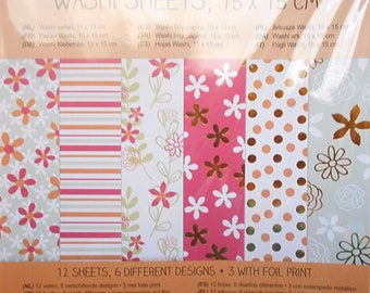 12 sheets stickers paper washi tape 15 x 15 cm new