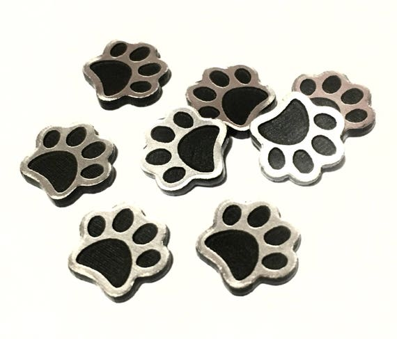 Laser Cut Supplies-8 Pieces.Little Dog Print Charms-Acrylic and Wood Laser Cut-Jewellery Supplies-Little Laser Lab Wood and Acrylic Products