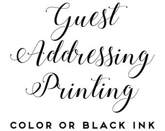 25 - Guest Addressing Printing Add On - Black or Color Ink - Envelope Printing Service