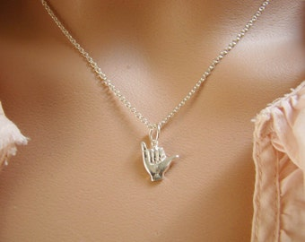 Shaka Sign Necklace, Hang Loose Charm, Bridesmaid Wedding Hawaiian Jewelry, Surfer Jewelry, Beach Necklace, 925 Sterling Silver