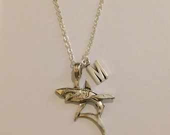 Shark Personalized Silver Plated Boyfriend gift Necklace metal chain necklace Initial necklace