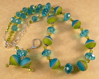 Lampwork Necklace Crystal Necklace Bead Necklace Turquoise Jewelry Lampwork Jewelry Beaded Jewelry Crystal Jewelry Lampwork Earrings