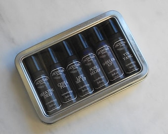 Essential Oil Roll On Gift Set, Choose 6, Aromatherapy Roller, Natural, Organic, Stress, Anxiety, Energy, Allergies, Headaches, Hormones