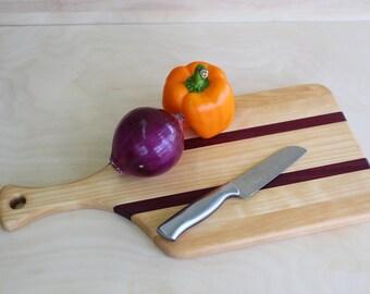 Wood cutting board with handle. Handmade wood cutting board.