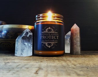 SPELL CANDLE ~ 9 oz PROTECTION All Natural Essential Oil and Botanical Herb ritual soy Candle by Nightshade Botanicals