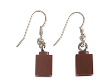 Brown LEGO (R) brick 1x1 on a Silver/Gold plated dangle (hook) - PIF (Pay It Forward)