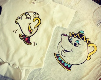 Set of Two Mrs. Potts and Chip Disney Tees
