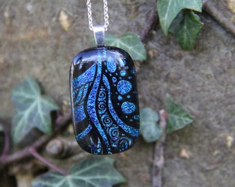 Deep blue dichroic glass pendant, dichroic glass necklace, fused glass,  fused glass pendant,  dichroic necklace , blue seaweed dichroic,