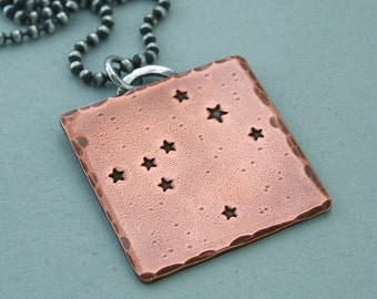 Constellation Necklace - Canis Major - Hand Stamped Copper and Sterling Silver