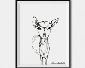 BABY FAWN PRINT, Fawn art, fawn wall art, baby deer print, fawn printable, deer art, Nursery art, kids room decor, baby animal, black white