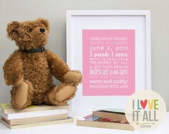 Nursery Birth Announcement, New Baby, Newborn Print, Birth Name Date, Custom Announcements, Adoption, Personalized Customized, Christening