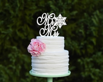 Snowflake Mr & Mrs Wedding Cake Topper - Winter Wedding Cake Topper - 0006