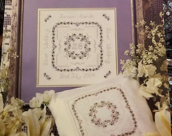 Patricia Ann Designs, PAD 47, Smapler for Weddings and Anniversaries,  Flowers, Cross stitch,  Patterns, Letters, Numbers