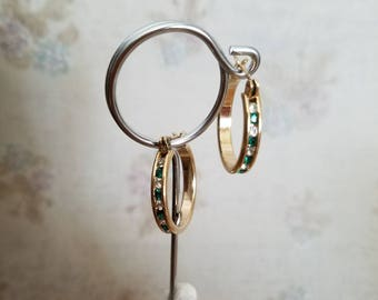 Gold hoops with white and green rhinestones, vintage rhinestones