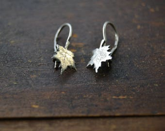 Soviet sterling silver leaf shaped earrings, Sterling maple leaf earrings,Silver earrings,Sterling silver jewellery, Vintage costume jewelry