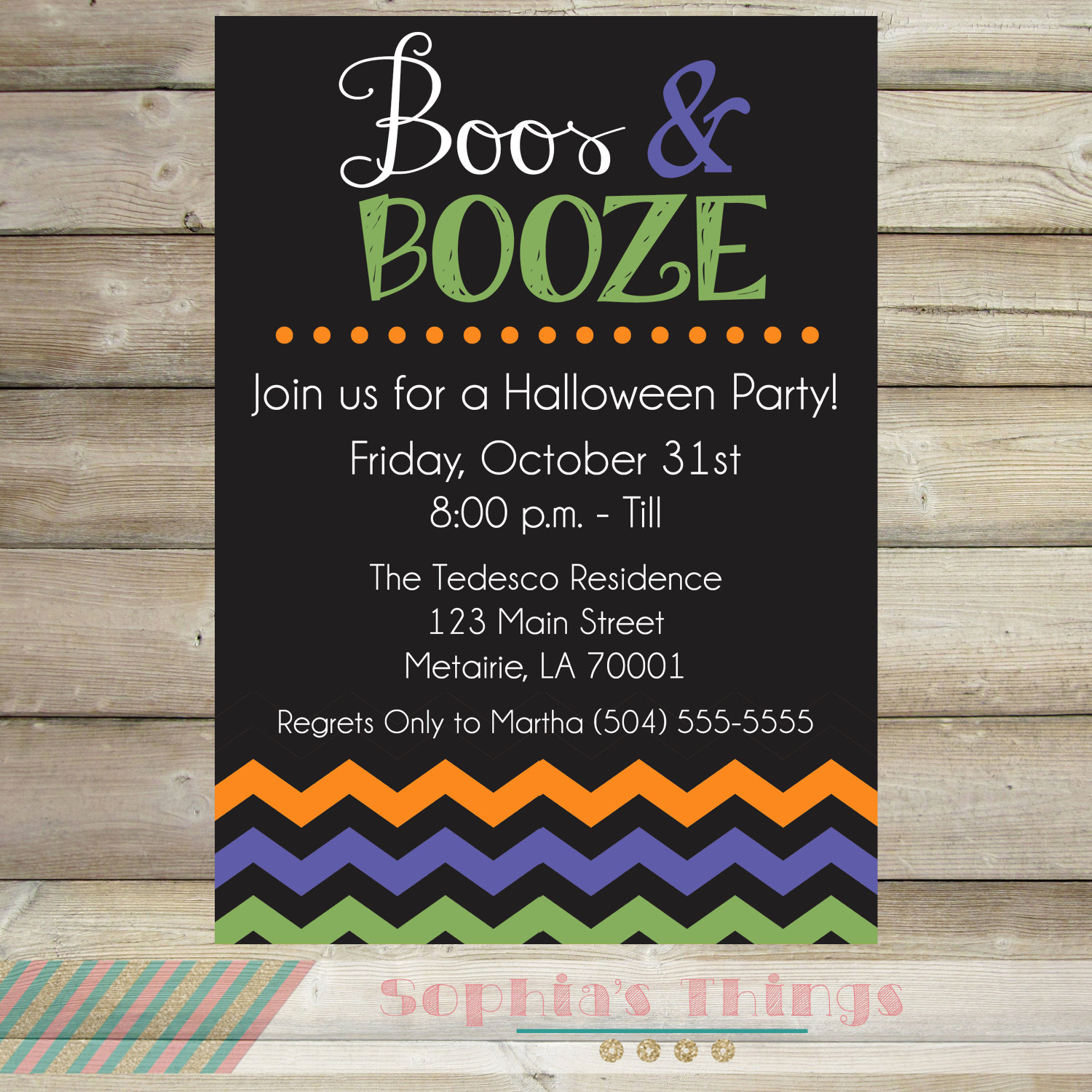Boos and Booze Halloween Party Invitation Adult Halloween