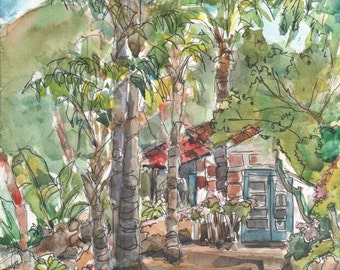 Leo Carrillo Ranch and Historic Park, Original Watercolor, Signed, Lydia Velarde