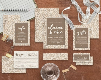 "Printable Wedding Invitation Suite ""Lacie"" - Printable DIY Invite, Affordable Wedding Invitation"