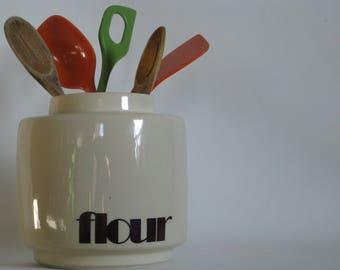 Vintage Mid century McCoy storage canister, flour, kitchen, California pottery, organization, houseplant