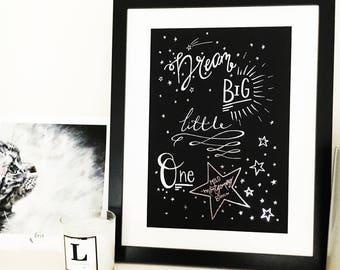 "Star Foil Print ""Dream Big Little One"" // Personalised Print // New Baby Gift // Nursery Art // Unframed Print"