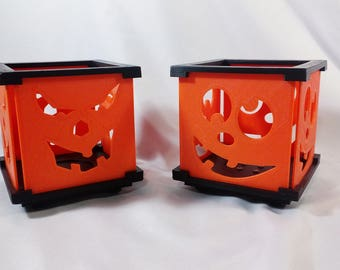 Two LED Tea Light Candle Holders - Scary & Silly Halloween Jack-O-Lanterns