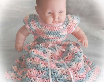 Baby Girl Dress Crocheted with Pink and Gray Cotton Yarn - Pink and Grey Party Dress - 6 to 9 Months Baby Dress - Baby Girl Party Dress -