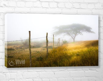Photography print wrap, dining room, barbed wire fence, tree photography, large canvas, fog art print, 3 panel picture, office print decor